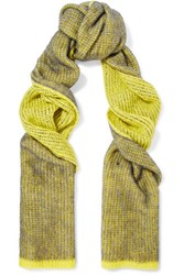 Acne Studios Via Neon Crochet Knit Scarf Yellow
