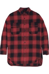 R 13 X Oversized Plaid Cotton Flannel Shirt Red