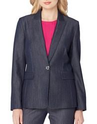 Tahari By Arthur S. Levine Chambray One Button Blazer