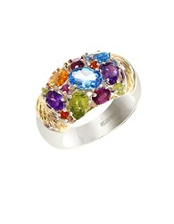 Effy Semi Precious Multi Stone Sterling Silver And 18K Yellow Gold Ring
