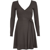 River Island Dark Grey Rib Ballet Wrap Long Sleeve Dress