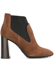 Tod's Elasticated Panel Ankle Boots Brown