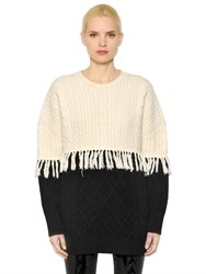 Steve J And Yoni P Fringed Wool Cable Knit Sweater