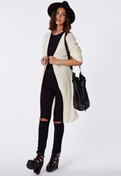 Missguided Longline Chunky Knit Cardigan Cream