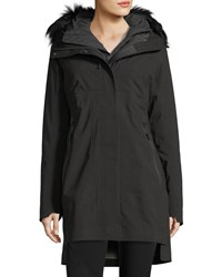 The North Face Triclimate Hooded Zip Front Parka Jacket W Faux Fur Tnf Black