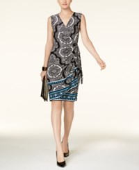 Inc International Concepts Mixed Print Wrap Dress Created For Macy's Baroque Knob
