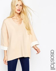 Asos Tall Jumper In Bonded Knit With Deep V Neck Nude