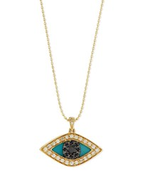 Sydney Evan Diamond Evil Eye Swivel Pendant Necklace Yellow Gold