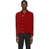 Saint Laurent Red Suede Classic Jacket