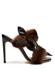Olgana Paris Celeste Fur Trimmed Leather Sandals Black Brown