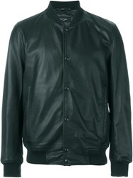 Paul Smith Jeans Leather Bomber Jacket Black