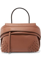 Tod's Wave Medium Embellished Textured Leather Tote Tan