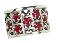 King Baby Studio Heart Patterned Ring With Garnet Stones