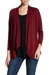 Bobeau Open Front Cardigan Petite Red