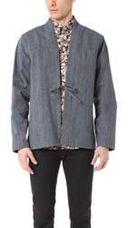 Naked And Famous Hank Dyed Speckle Twill Kimono Shirt Indigo