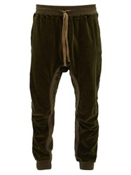 Haider Ackermann Tapered Cotton Blend Velvet Track Pants Khaki