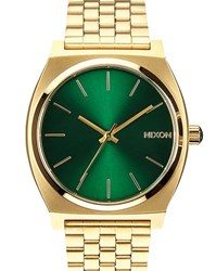 Nixon Green Time Teller Sunray Watch With Golden Dial Yellow