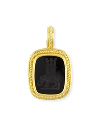 19K Elephant And Castle Onyx Pendant Elizabeth Locke