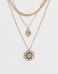 Monki Multi Size Chain Layer Necklace In Gold