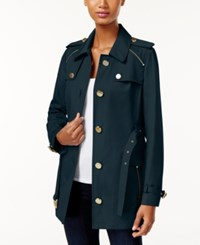 Michael Kors Zipper Trim Trench Coat New Navy