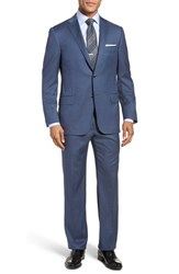 Hickey Freeman Classic B Fit Solid Wool Suit Blue