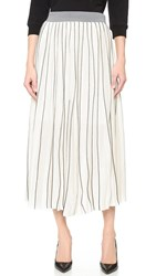 Edition10 Pinstripe Long Skirt Black White Stripe