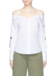 Helen Lee Bunny And Floral Embroidered Off Shoulder Shirt White