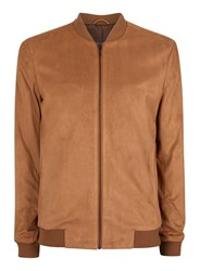 Topman Brown Tan Faux Suede Formal Bomber Jacket