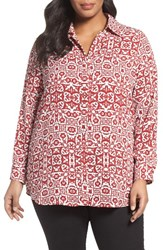 Foxcroft Plus Size Women's Tile Print Tunic