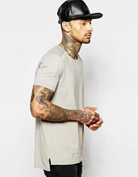 Asos Longline T Shirt With Boat Neck And Step Hem With Heavy Wash Satellite Grey