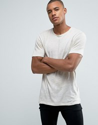 Jack And Jones Premium Longline Linen T Shirt Moonbeam Stone