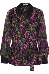 Prada Pleated Floral Print Silk Crepon Blouse Purple
