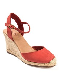 Me Too Bethany Leather Wedge Platform Pumps Red