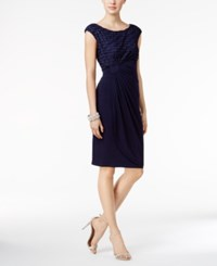 Connected Glitter Stripe Faux Wrap Dress Navy