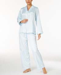 Miss Elaine Petite Brushed Back Satin Pajama Set Blue Sky