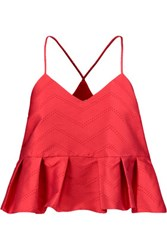 Alexis Karla Perforated Twill Peplum Top Red