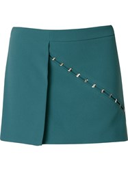 Giuliana Romanno Embellished Wrap Skort Green