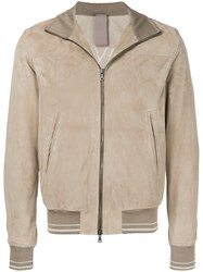 Orciani Zipped Biker Jacket Nude And Neutrals
