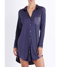 Hanro Long Sleeved Jersey And Stretch Silk Nightshirt Purple Grey
