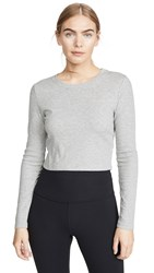 Beyond Yoga Keep In Line Cropped Pullover Light Heather Grey
