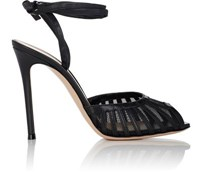 Gianvito Rossi Women's Leather And Mesh Ankle Tie Sandals Black