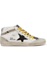 Golden Goose Mid Star Distressed Glittered And Snake Effect Leather And Suede Sneakers White