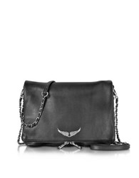 Zadig And Voltaire Black Grainy Leather Rock Xl Clutch