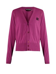 Rochas V Neck Embroidered Cotton Cardigan Pink