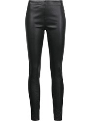 Veronica Beard Leather Leggings Black