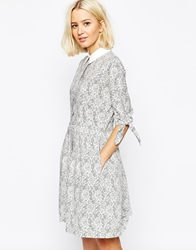 The Laden Showroom X Even Vintage Lace Print Collar Tea Dress With Bow Sleeve Greylaceprint