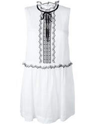 Red Valentino Embroidered Semi Sheer Dress White