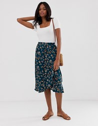 B.Young Floral Ruffle Wrap Skirt Multi