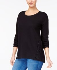 Style And Co Scoop Neck Lace Up Knit Top Created For Macy's Deep Black
