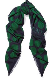 Lanvin Printed Cashmere And Silk Blend Scarf Green